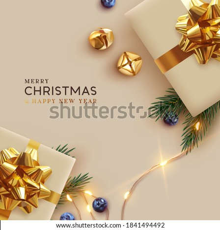 Merry Christmas and Happy New Year. Background Xmas design realistic gifts box, festive decorative objects. flat lay top view. Christmas poster, holiday banner, flyer, stylish brochure, greeting card stock photo