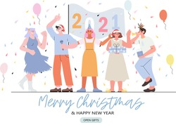 Merry Christmas and happy new year banner, flyer, landing page with people having fun and holding flag with 2020 numbers of the next year. Christmas party with baloons and gifts and smiling people.