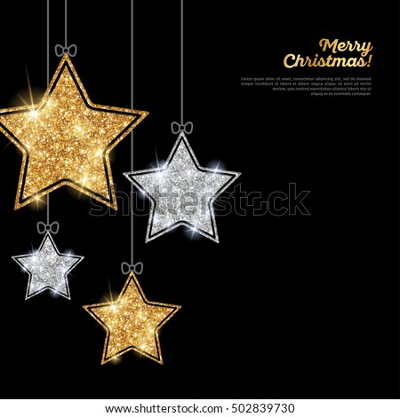 merry christmas and happy new year banner glitter background with silver and gold hanging stars