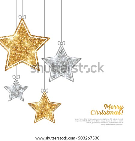 Stock Photo Merry Christmas and Happy New Year Banner. Glitter Background with Silver and Gold Hanging Stars. Vector illustration. Sequins Pattern. Glowing Invitation Template.