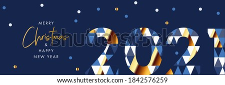 Merry Christmas and Happy New Year banner, greeting card, poster, holiday cover, header. Modern Xmas design in geometric style with number 2021 with triangle pattern and snow on blue night background