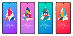 Merry Christmas and Happy New year banner set with abstract Xmas tree with geometric texture on the smartphone or mobile phone screen. Social media post, stories, greeting card design. Vector.