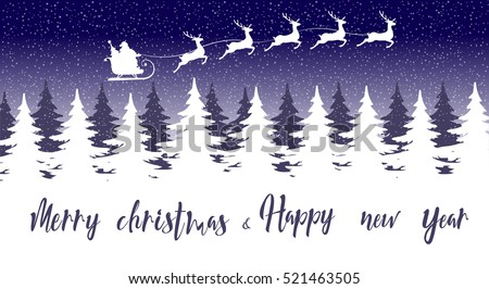 merry christmas and happy new year banner silhouette santa claus in sleigh with five deers