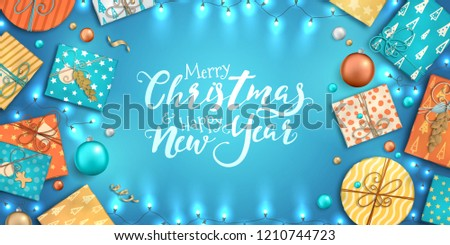 merry christmas and happy new year banner with christmas decoration colorful balls gift box