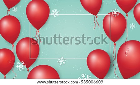 merry christmas and happy new year 2017 banner with red balloons and snowflakes on pastel background