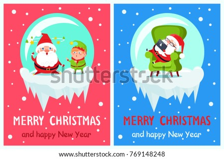 merry christmas and happy new year banners with santa and elf adventures in glass ball having