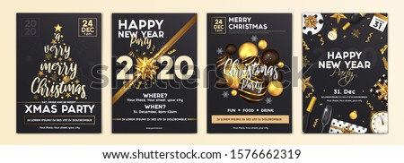 Merry Christmas and Happy New Year Brochure Design Layout Template in A4 size with golden ornaments, gift boxes and snowflakes on dark background. Abstract Modern Backgrounds, Party poster. Vector