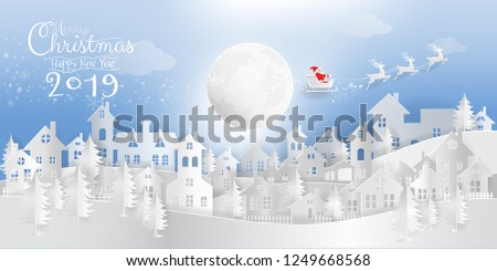Merry Christmas and Happy New Year 2019 calligraphic paper art, paper cut, digital paper craft of Santa Claus with reindeer on sleigh flying over the night snow wonderland. Vector illustration EPS10.