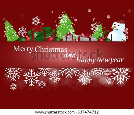 Merry Christmas and Happy New Year Card #337474712