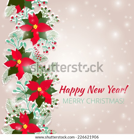 Merry Christmas and Happy New Year Card. Christmas background