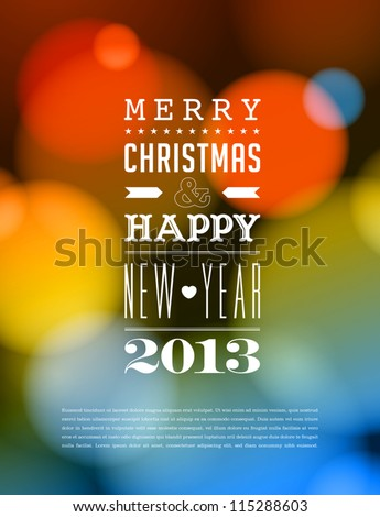 Merry Christmas and Happy New Year Card - Editable EPS10 - stock vector