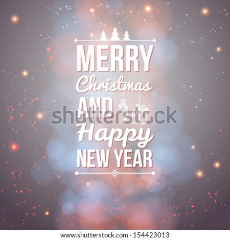 Merry Christmas and Happy new year card. Holiday background and lettering can be easily used together or separately. Vector illustration.