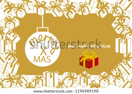 merry christmas and happy new year card vector composition with gifts and festive decorations on