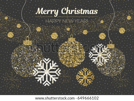 Merry Christmas and Happy New Year card. Vector golden glittering christmas balls, snow, snowflakes on black background