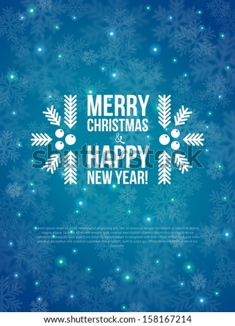 Merry Christmas and Happy New Year Card 2014 Vector illustration Blurred background Snow out of focus