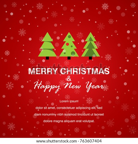 merry christmas and happy new year card vector illustration flat simple style holiday