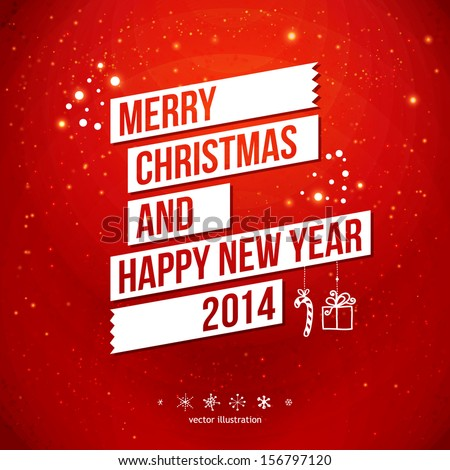 Shutterstock Merry Christmas and Happy New Year 2014 card. White ribbon, red background.  Vector image.