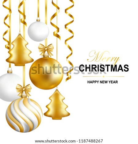 Merry Christmas and Happy New Year card with balls, serpentine and calligraphy. Vector illustration.