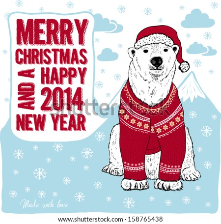 Merry Christmas and Happy New Year card with polar bear in red hat and sweater