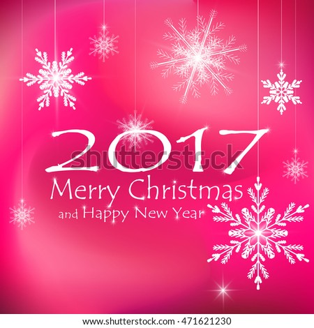 Merry Christmas and Happy New Year Card Xmas Decorations. Snowflakes. Pink Backgrounds. Vector.