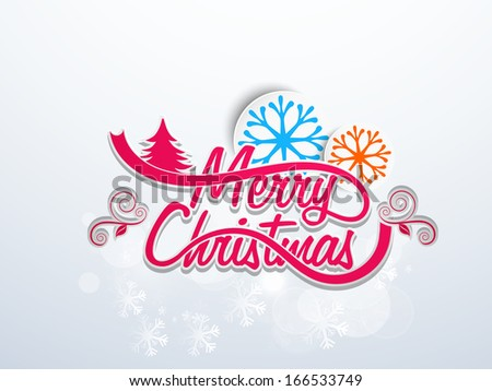 Merry Christmas and Happy New Year 2014 celebration flyer, banner or poster with stylish text and decorated snowflakes on grey background.