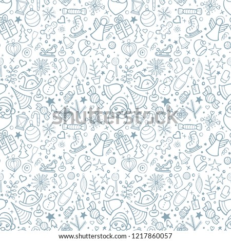 Merry Christmas and Happy New Year. Christmas and Happy New Year hand drawn seamless background. Winter holidays doodle, sketch drawing symbols and icons.