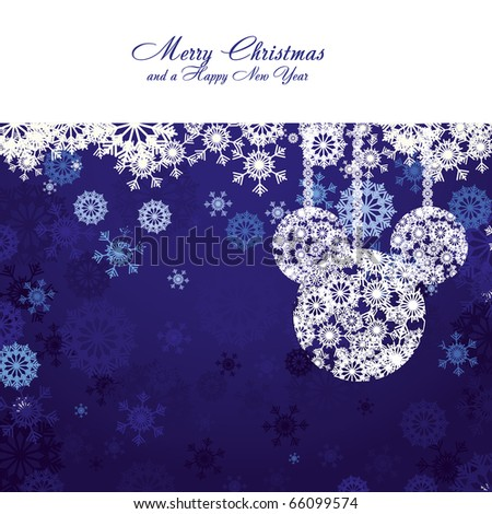 Merry Christmas and Happy New Year! Christmas card with snowflakes and christmas decorations on blue background, vector illustration