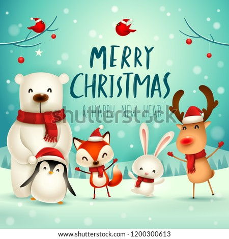 Merry Christmas and Happy New Year. Christmas Cute Animals Character. Happy Christmas Companions. Polar Bear, Fox, Penguin, Bunny and Red Cardinal Bird in snow scene. Winter landscape.