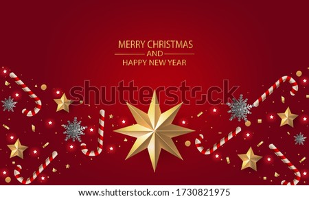 Merry Christmas and Happy New Year. Christmas greeting card red background with gold stars and silver snowflakes, gold snowflakes, candy canes and decoration.
