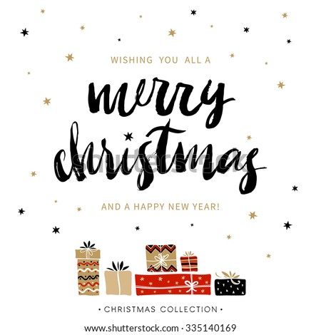 Merry Christmas and Happy New Year. Christmas greeting card with calligraphy. Handwritten modern brush lettering. Hand drawn design elements.