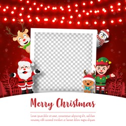 Merry Christmas and Happy New Year, Christmas postcard of photo frame with Santa Claus and friends, Paper art style