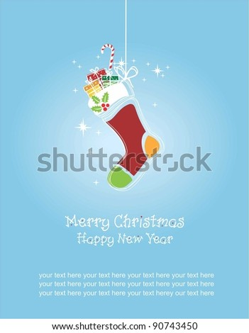 Merry Christmas and Happy New Year, Christmas stockings greeting card