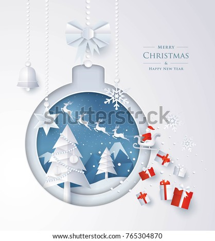 Merry Christmas and Happy New Year, Christmas tree, bell and snow in winter season, Santa Claus on the sky with Gift boxes in Christmas ball Frame,  Paper art vector and illustration