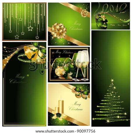 Merry Christmas and Happy New Year collection gold and green - stock vector