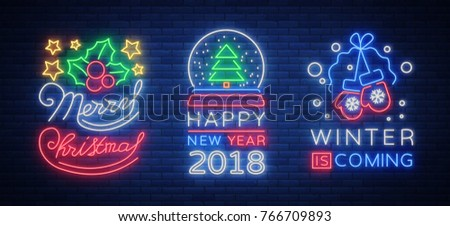 Merry Christmas and Happy New Year 2018 collection of neon signs. Set neon characters for your Christmas projects, greeting cards, flyers, banners. Bright festive sign. Vector illustration.