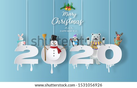 Merry Christmas and Happy New Year 2020 concept with snowman, reindeer, rabbit, bear and penguin, greeting and invitation card.