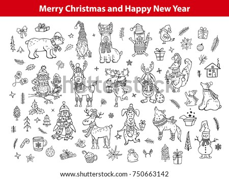 Merry Christmas And Happy New Year Cute Funny Hand Drawn Outlined Doodles Animals Silhouettes Collection With