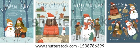 Merry Christmas and Happy New Year! Cute vector illustrations with characters, family, animals and a snowman for the winter holidays for a card, background or poster.