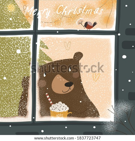 Merry Christmas and Happy New Year! Cute winter vector illustration of a cheerful brown bear in the window with snow and a bullfinch bird. Holiday drawing for postcard and poster