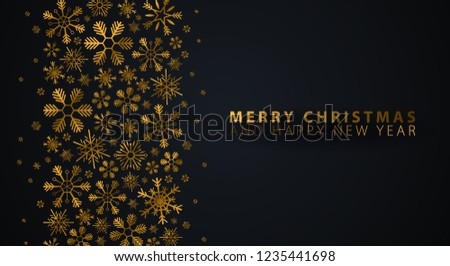 Merry Christmas and Happy New Year. Dark background with gold snowflakes. Vector illustration #1235441698