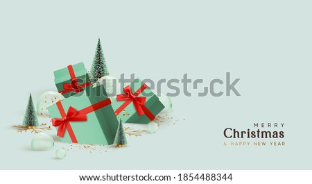 Merry Christmas and Happy New Year design. Realistic gifts boxes lie in snow, fluffy green Christmas tree. glass balls and snowballs. 3d decorative object. Xmas winter background. Holiday gift box Photo stock ©
