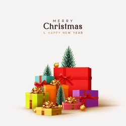 Merry Christmas and Happy New Year design. Realistic pile gifts boxes. Big lot gift box decorative festive object. Holiday banner, web poster, flyer, stylish brochure, greeting card. Xmas background