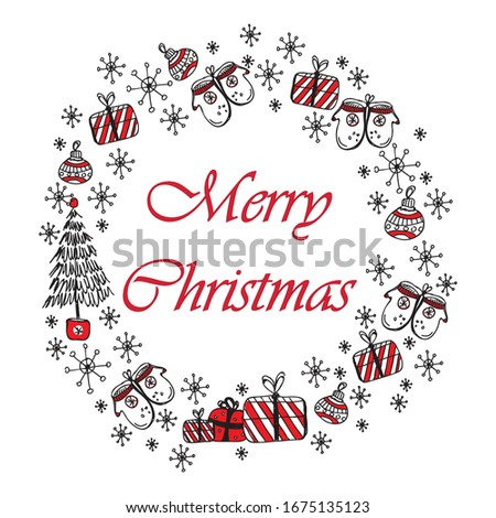 Merry christmas and Happy new year doodle vector greeting card with red and black christmas symbols isolated on white background. Christmas wreath, sketch drawing for your design.