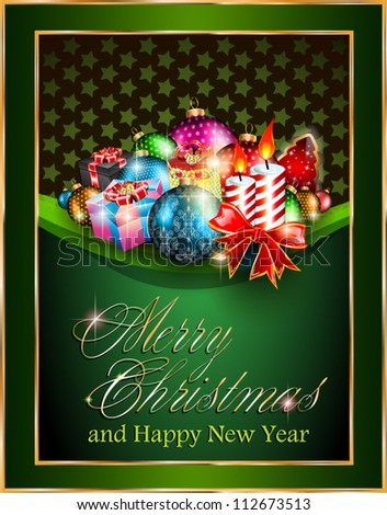 Merry Christmas and Happy New Year Elegant Suggestive Background for Greetings Card.
