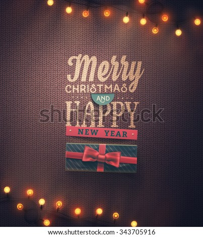 Stock Photo Merry Christmas and Happy New Year, eps 10