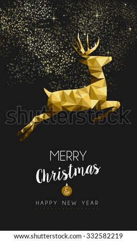 Merry christmas and happy new year fancy gold deer jumping in hipster triangle low poly style. Ideal for xmas card or elegant holiday party invitation. EPS10 vector.
