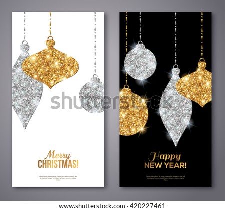 merry christmas and happy new year flyers background with silver and gold hanging baubles
