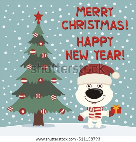 merry christmas and happy new year funny snowman dancing near tree ez canvas