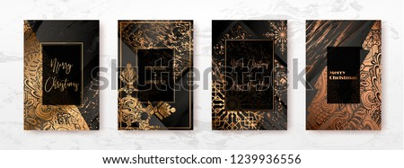 Merry Christmas and Happy New Year 2019 golden cards, vector illustration. Luxury gold design, greeting holiday banner, gift template, invitation...