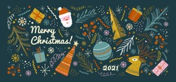 Merry christmas and happy new year greeting card and background template. Winter holiday vector illustration in vintage style. Christmas tree and toys, santa claus. 2021 new year hand drawn poster